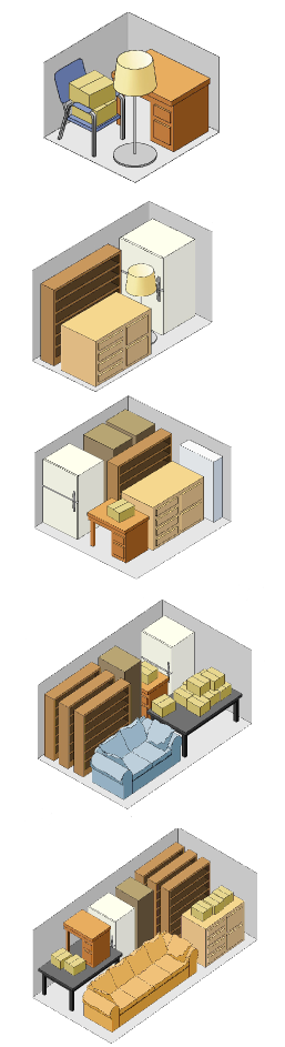 sizes of storage